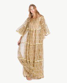 Robe soie Imprimé Jaune Grand Cachemire Femme TS825P-01