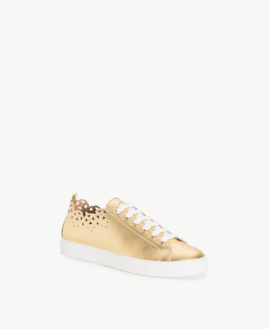 TWINSET Scalloped sneakers Gold Yellow Woman CS8TF1-02