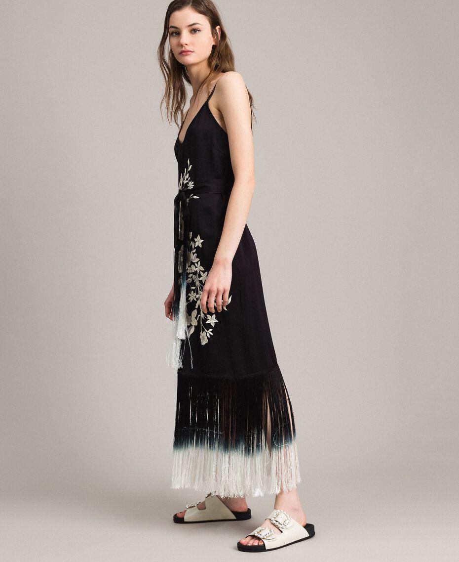 Robe longue avec broderies florales et franges Noir Femme 191TT2134-02