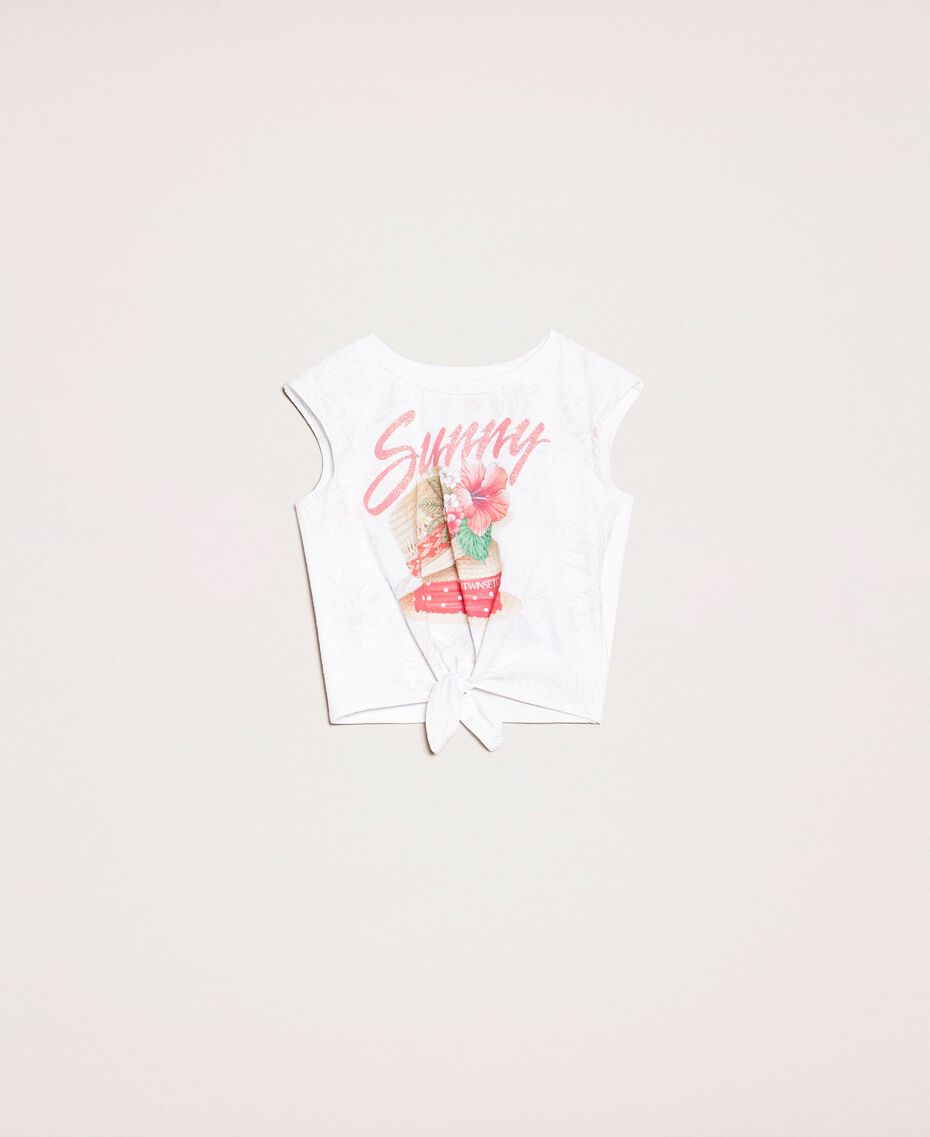 "Printed cropped top Sunny Print / ""Papers"" White Child 201GB2311-01"