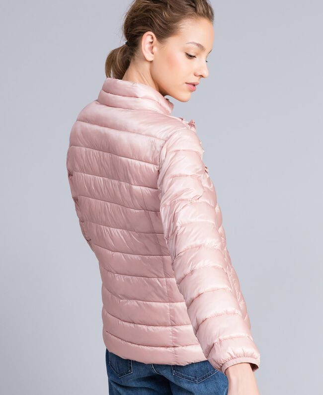 "Short shiny nylon padded jacket with ruches ""Dance"" Pink Woman PA82GS-03"