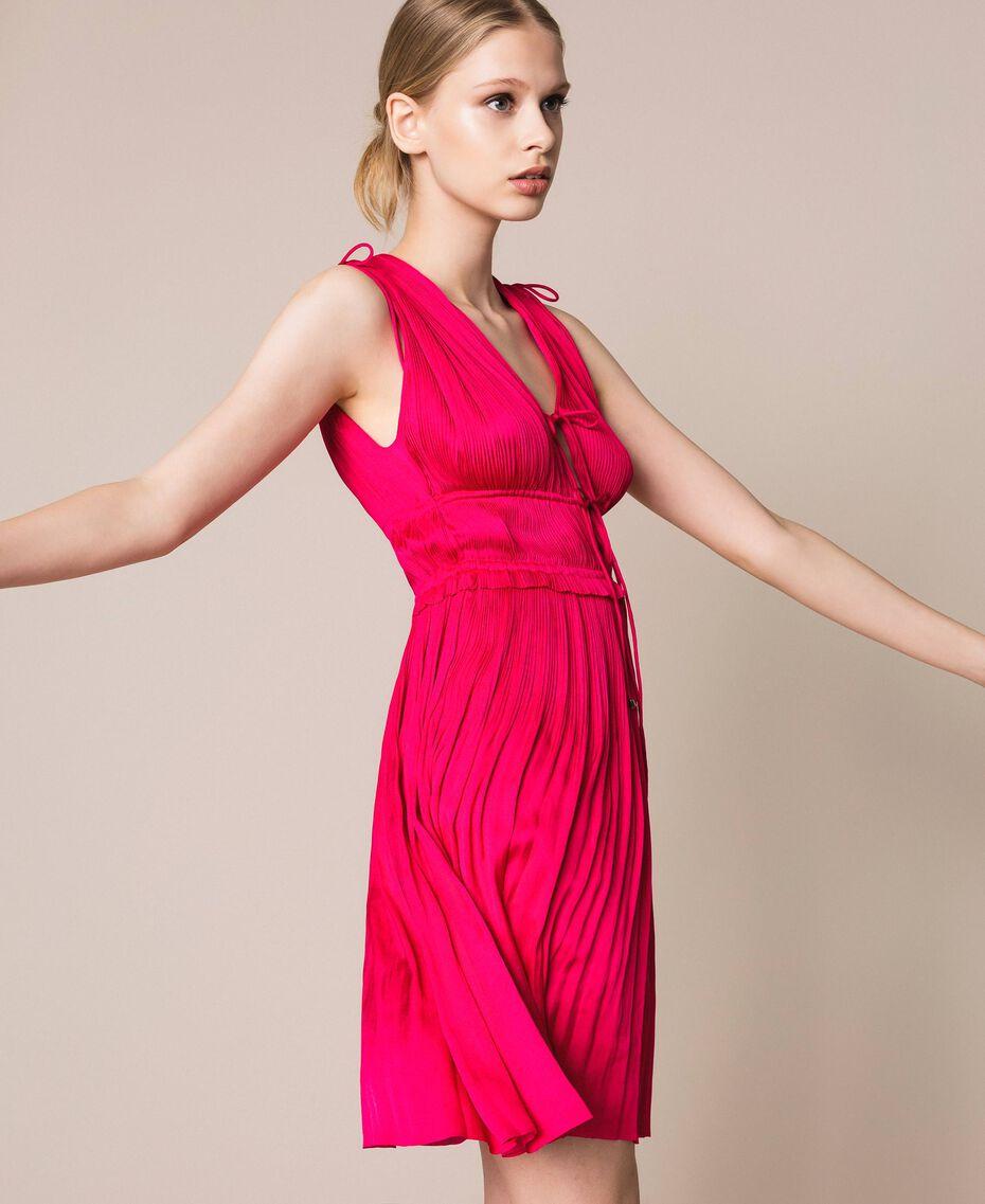 Pleated satin dress Wild Rose Woman 201MT2141-02