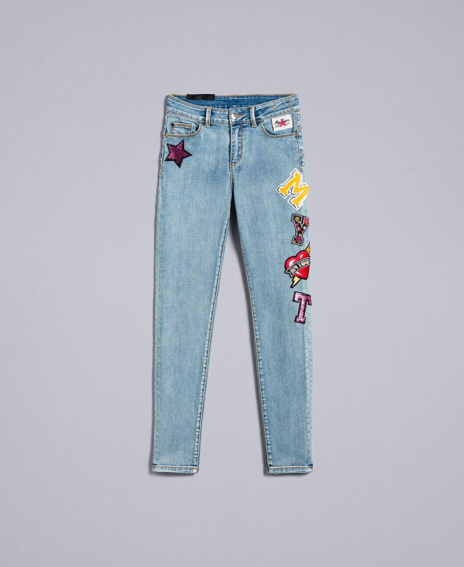 Jean skinny en denim avec patchs Bleu Denim Femme YA82Y1-0S