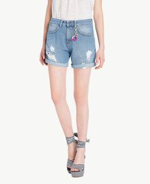 Denim shorts Denim Blue Woman YS82Q7-01