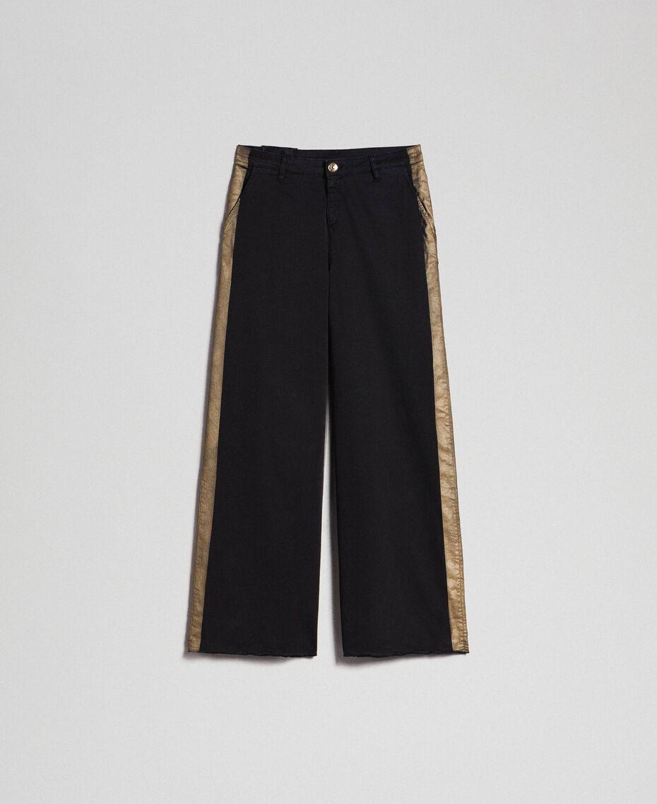 Wide-Leg-Hose mit Seitenstreifen Zweifarbig Schwarz / Gold Frau 192MP2410-0S