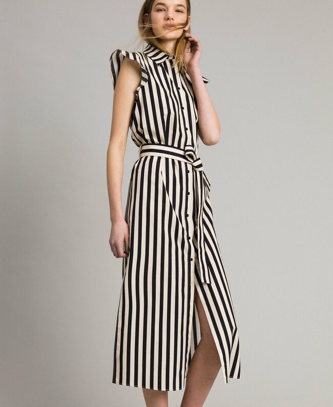 "Poplin striped shirt dress ""Marzipan"" Beige / Black Striped Print Woman 191TT2282-01"