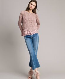 Pull en lurex point dentelle Lurex Rose Perle Femme 191TP3351-0T