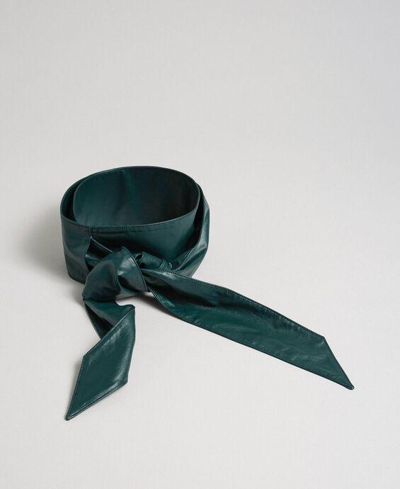 Faux leather sash belt