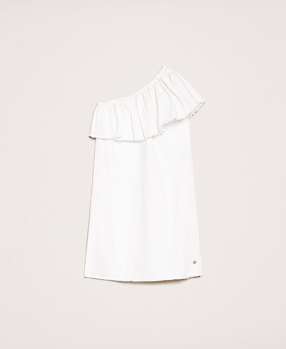 White denim dress with ruffles