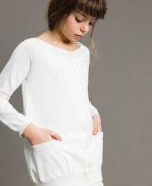 Cotton cardigan with lace Off White Child 191GJ3021-05