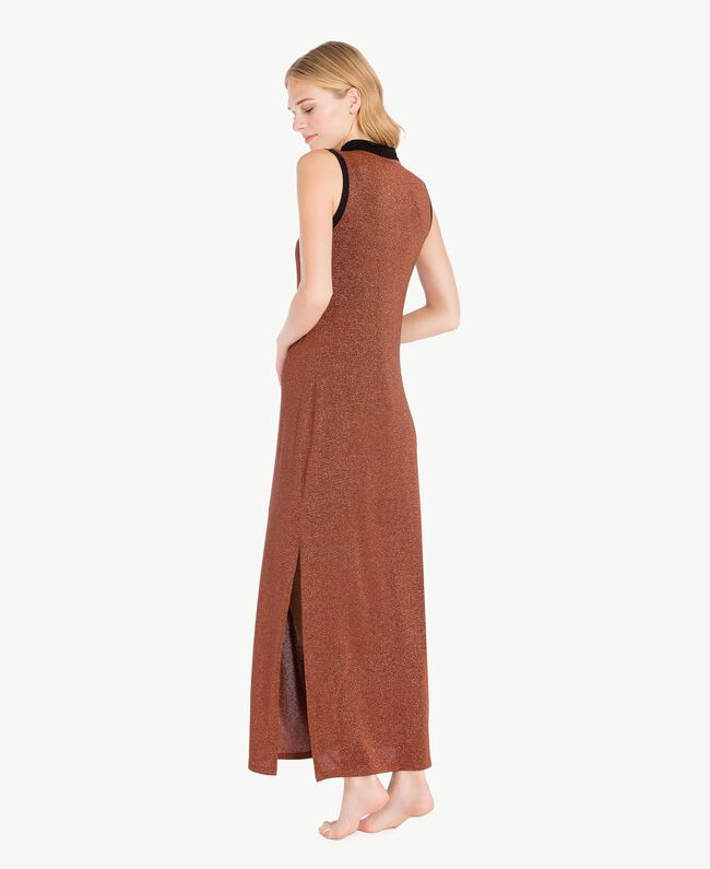 Kleid aus Lurex Kupfer / Schwarz IA7WCC-04