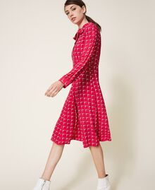 "Crêpe de Chine shirt dress with bow ""Cerise"" Fuchsia /""Dew"" White Optical Print Woman 202ST2502-03"