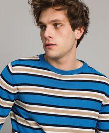 "Crêpe cotton striped jumper Multicolour Bay Blue / ""Blackout"" Blau / Opaque White Man 191UT3033-04"