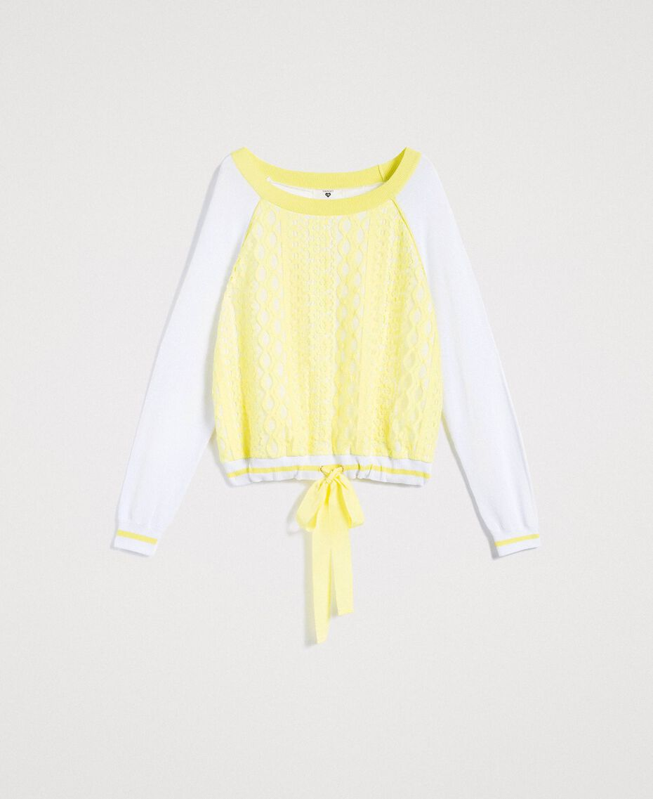 """Jumper with lace-effect print Two-tone Optical White / """"Lemon Juice"""" Yellow Woman 191LL36BB-0S"""