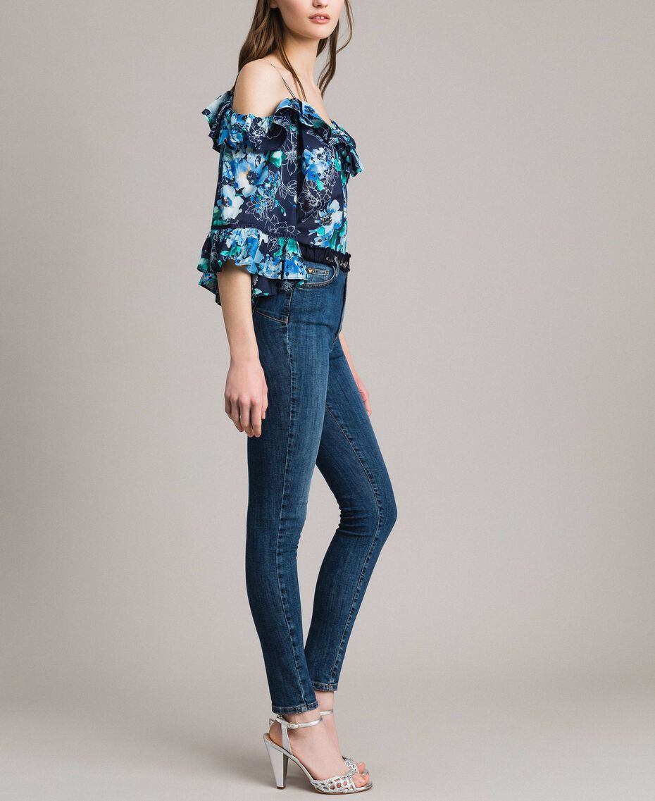 Grosgrain embroidered skinny jeans Denim Blue Woman 191MP2483-02