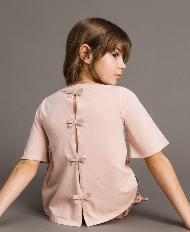 T-Shirt aus Jerseystoff mit Stickerei Blütenrosa Kind 191GJ2032-04