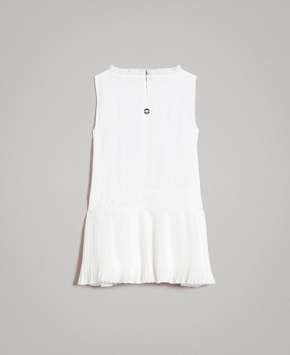 Plissiertes Kleid aus Chinakrepp Mattweiß Kind 191GB2QA0-0S