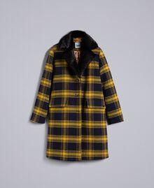 Manteau en drap à carreaux Bicolore Tartan Bleu /Jaune Doré Femme YA82DQ-0S