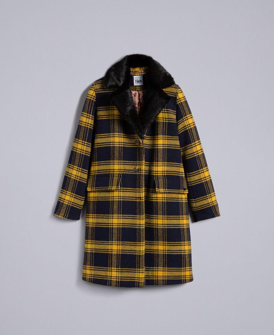 """Cappotto in panno check Bicolor Tartan Blu / Giallo """"Golden Yellow"""" Donna YA82DQ-0S"""