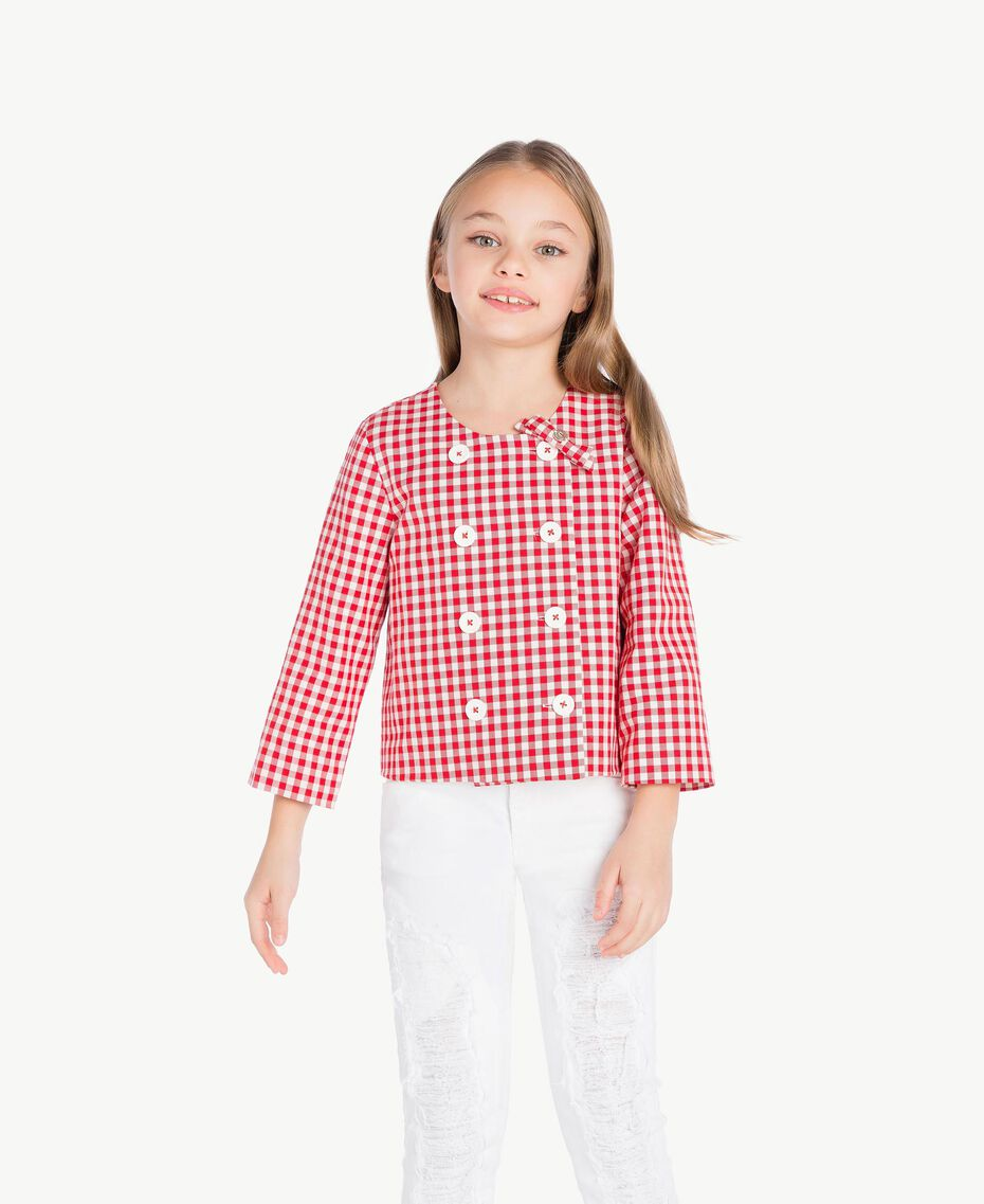 Gingham jacket Gingham / Pomegranate Red Jacquard Child GS82ZA-02
