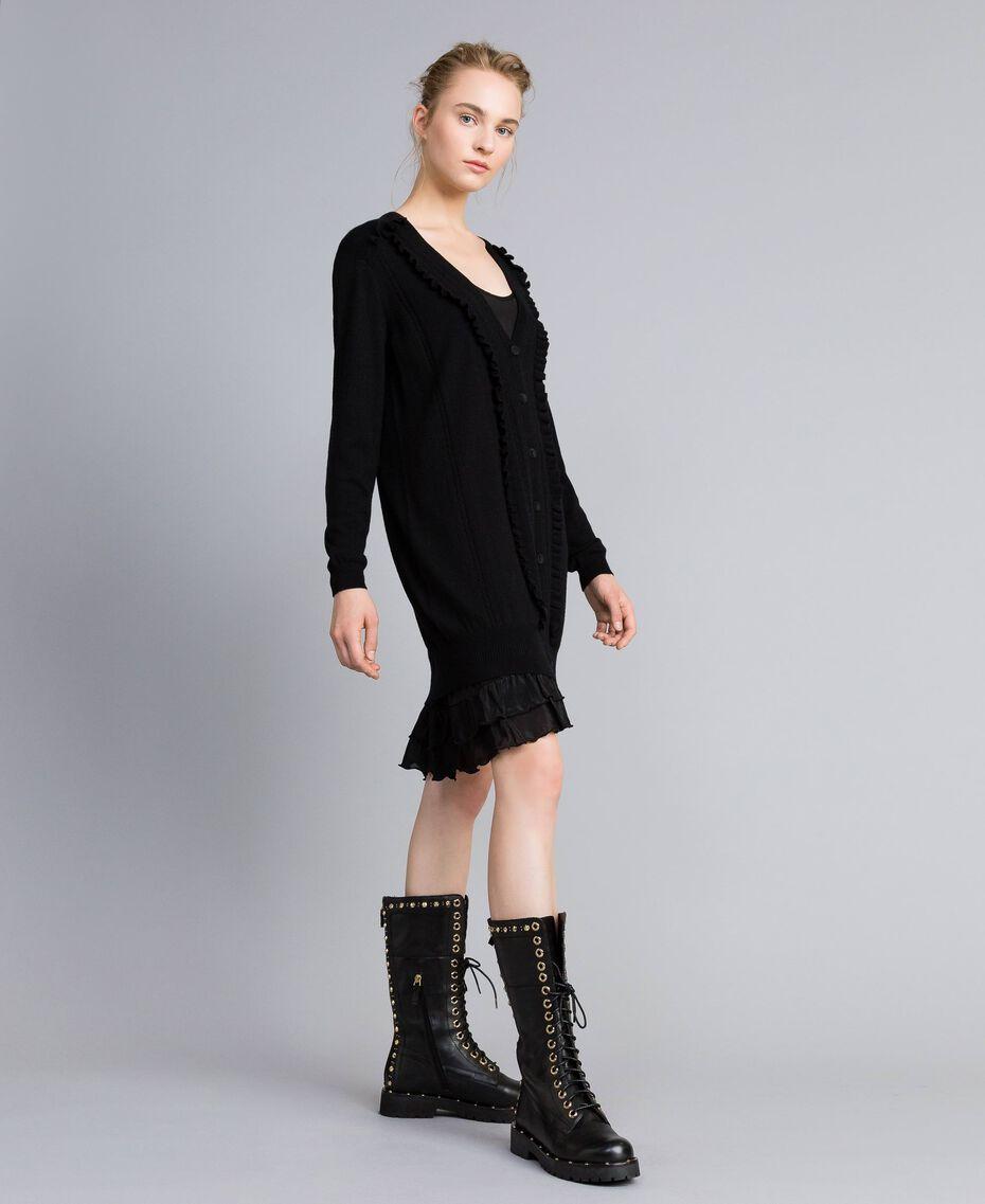 Kleid aus Wolle und Kaschmir mit Unterkleid Schwarz Frau PA83AP-02