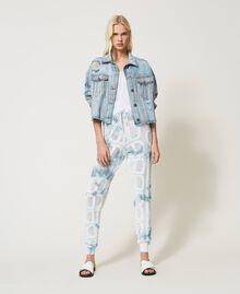 "Pantaloni jogging in maglia con logo Tie Dye Tricot Bianco ""Neve"" / Blu ""Nautical"" Donna 211TT3252-01"
