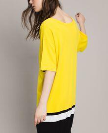 "Robe longue avec fond de robe Bicolore Jaune ""Freesia"" / Noir Femme 191MP3053-06"