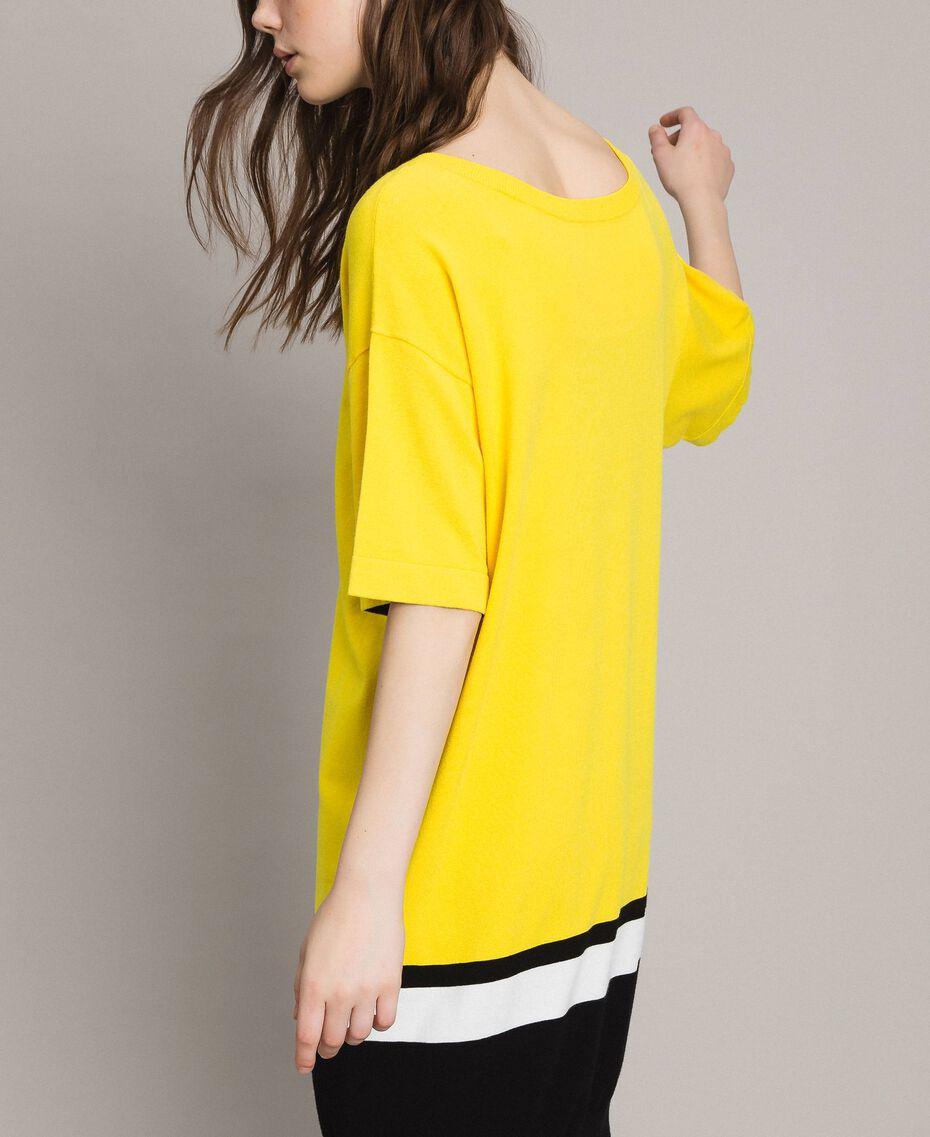 "Long dress with slip Two-tone ""Freesia"" Yellow / Black Woman 191MP3053-06"