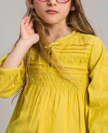 """Voile-Bluse aus Baumwolle mit Stickerei """"Bamboo"""" Gelb Kind 191GJ2350-04"""