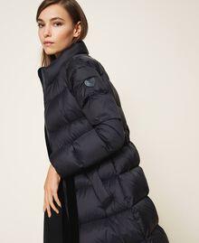 Long puffer jacket with velvet drawstring Black Woman 202MP2541-04