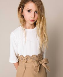 """Canvas dress with broderie anglaise Two-tone Off White / """"Dune"""" Beige Child 201GJ2152-04"""