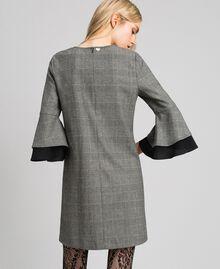 Glen plaid and georgette dress Lurex Dark Grey Wales Design Woman 192TT2447-03