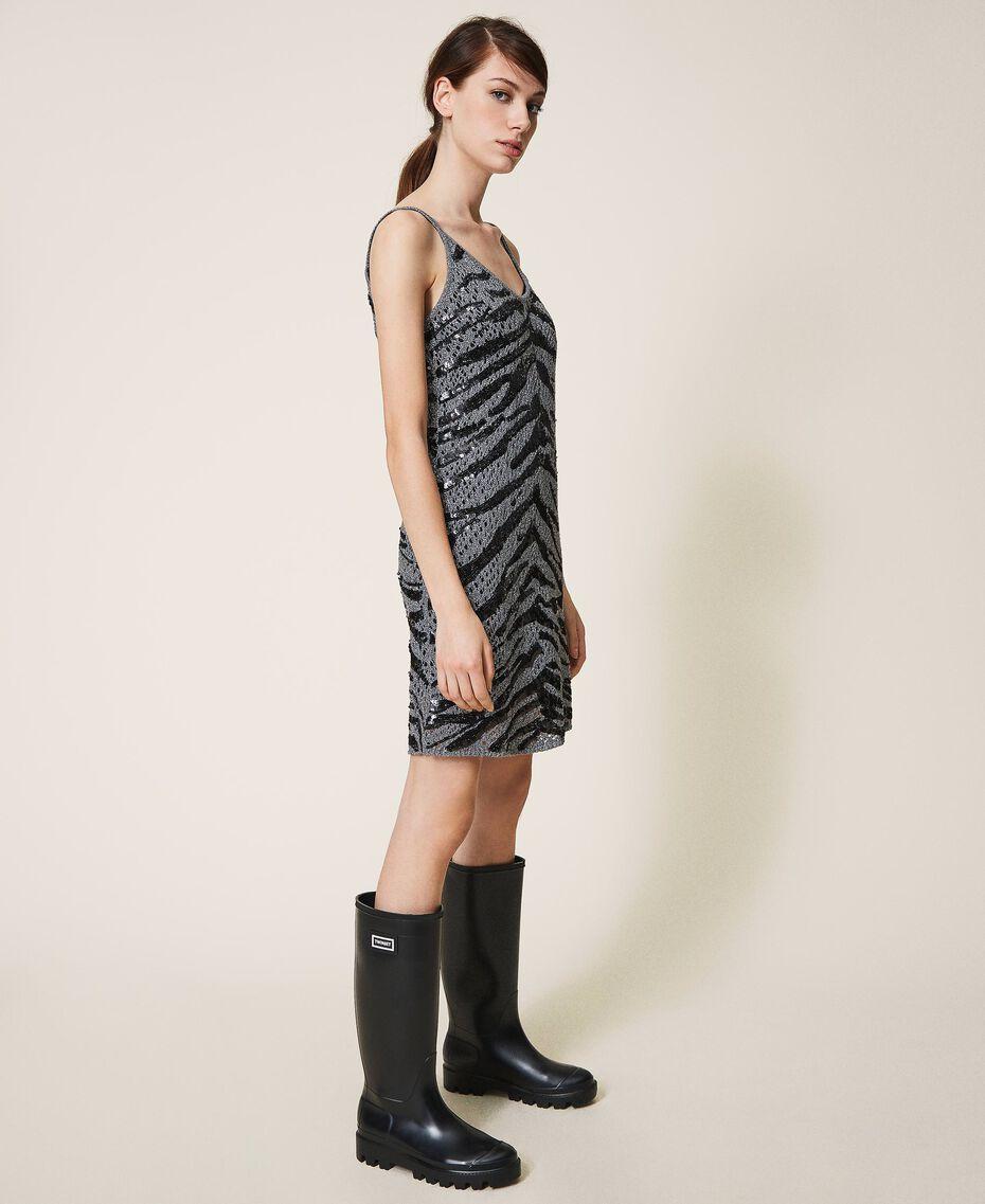 Vestido lencero con lentejuelas animal print Gris Cañón de fusil Mujer 202TP3150-02