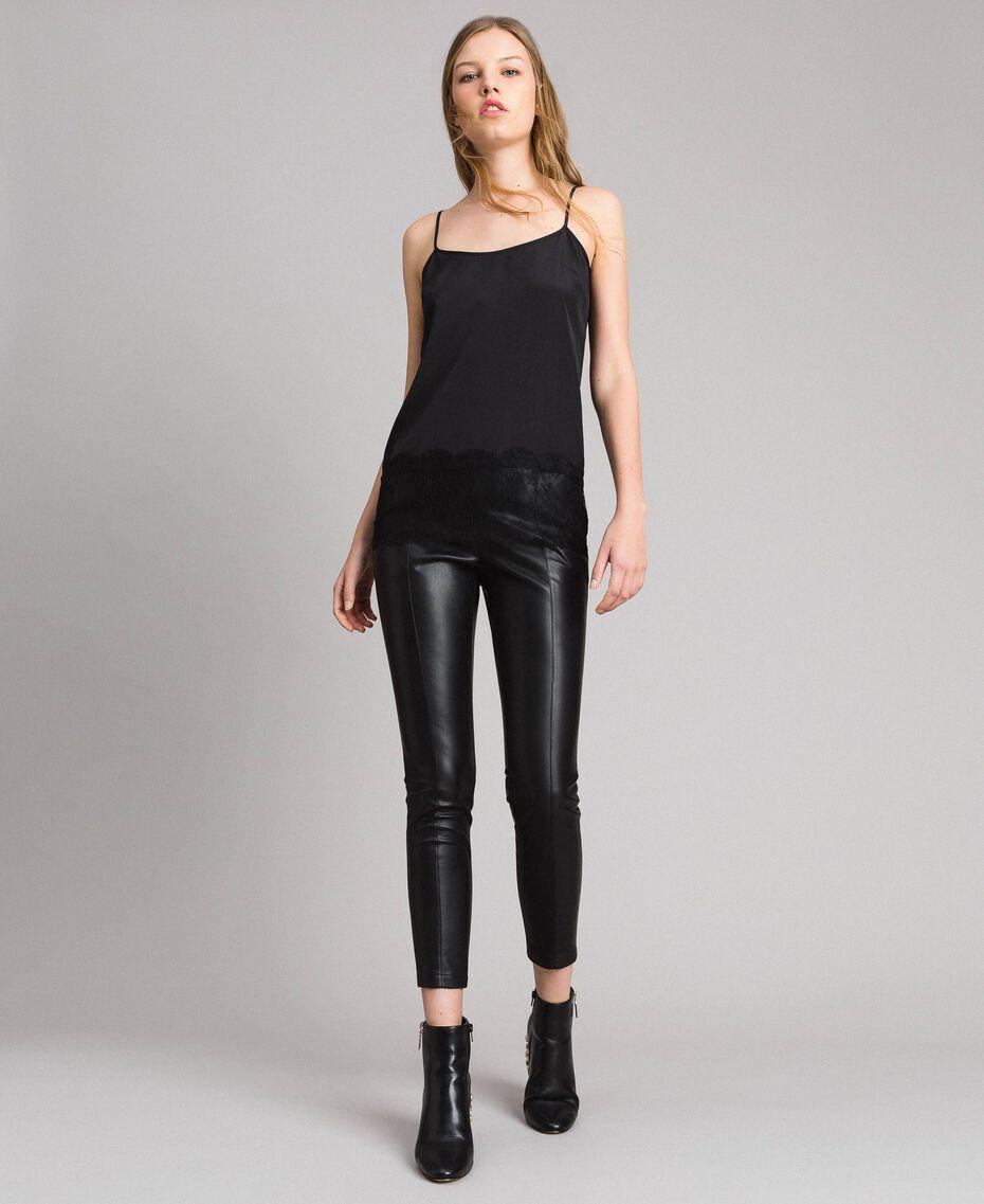 Skinny-Hose aus Kunstleder Schwarz Frau 191MP2260-02