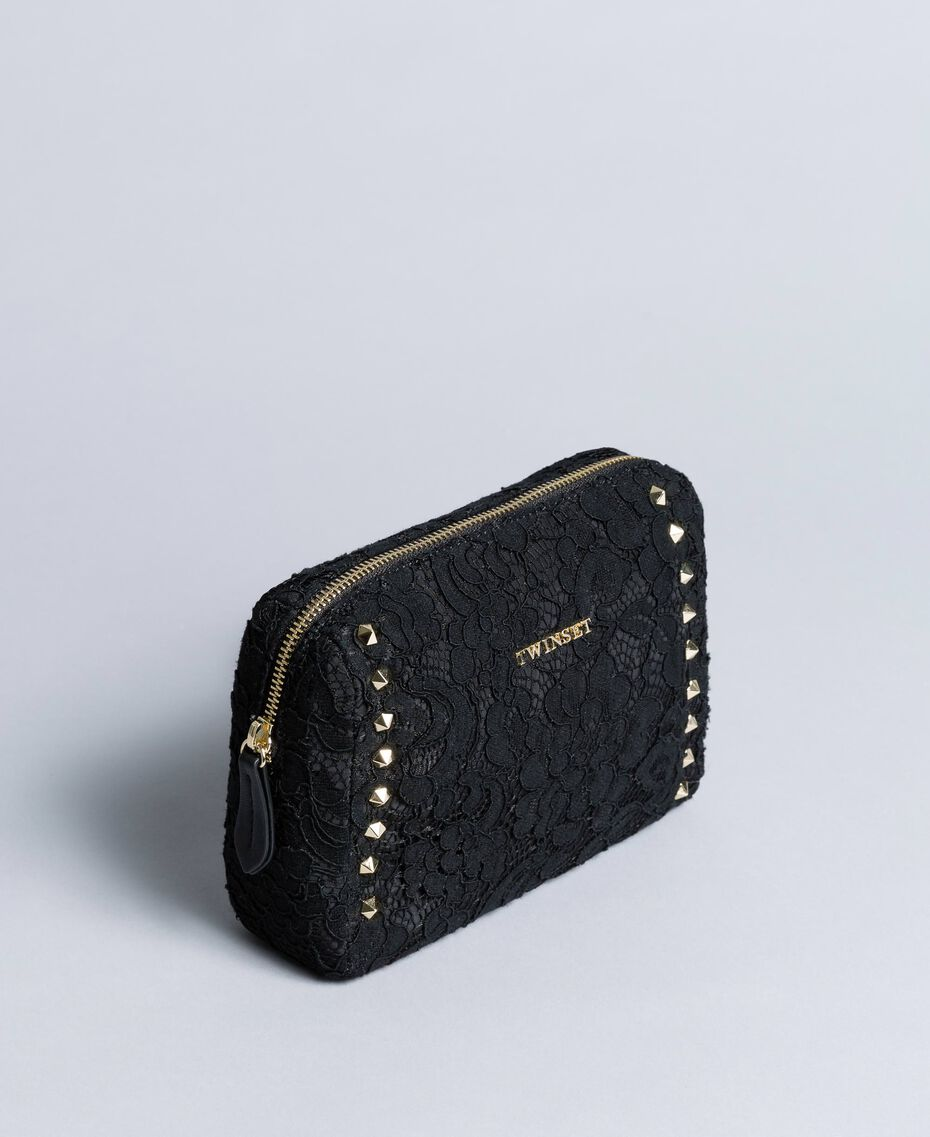 Lace-lined faux leather beauty case Black Woman AA8PFR-02
