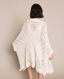 Cardigan poncho en crochet avec franges Blanc Antique White Femme 201TT3101-03