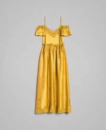 "Silk satin long dress with lace trims ""Honey Gold"" Woman 191TT2011-0S"