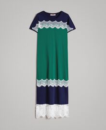Robe longue color block avec dentelle Vert Evergreen Femme 191TP2271-0S