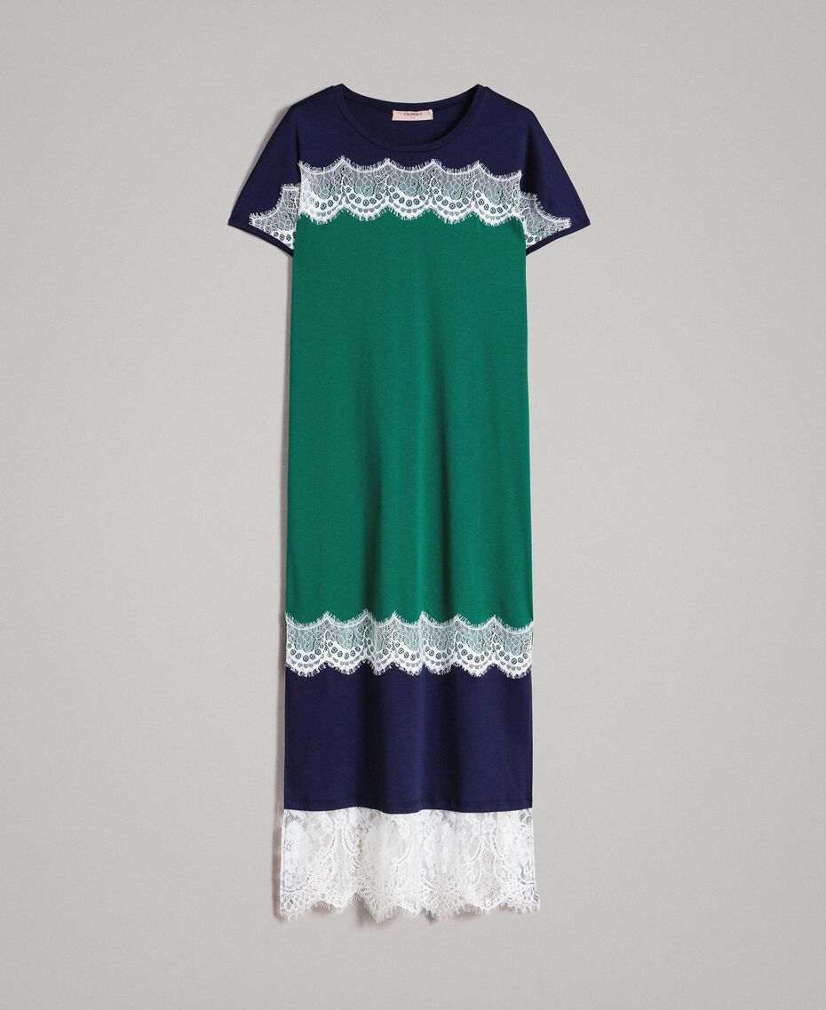 Long colour block dress with lace Evergreen Green Woman 191TP2271-0S