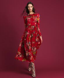 Georgette long dress with floral print Pomegranate Meadow Print Woman 192TP2753-01