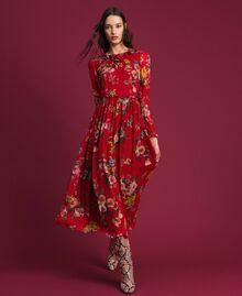 Vestido largo de georgette con estampado floral Estampado Flores de Campo Granada Mujer 192TP2753-01
