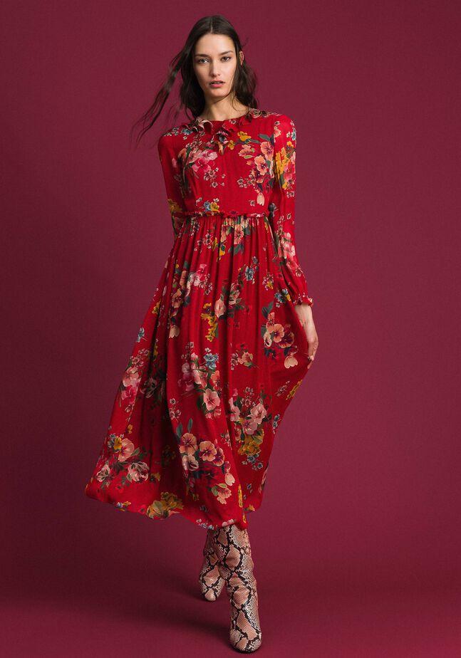 Длинное платье из жоржета с цветочным принтом