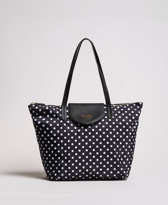 Bolso shopper plegable con estampado de lunares