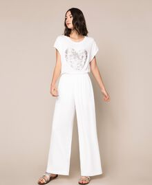 Crêpe palazzo trousers with rhinestones Ivory Woman 201LB27FF-01