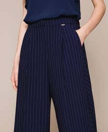 Pin stripe palazzo trousers Midnight Blue Pin Stripe Jacquard Woman 201ST2083-04