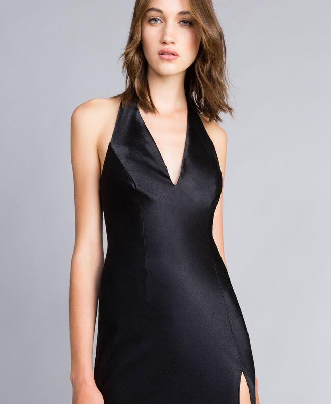 Langes Kleid Schwarz Frau QS8TGE-04