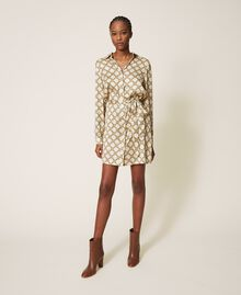 Chain print shirt dress Ivory / Gold Chain Print Woman 202TT2210-02