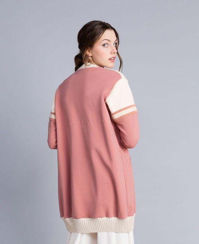 """Длинный бомбер с кокеткой, отделанной пайетками Розовый """"Розовый Барокко"""" женщина IA86BB-03"""