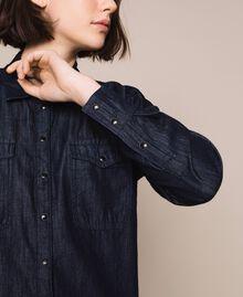 Denim shirt with lace Denim Blue Woman 201MP2402-04