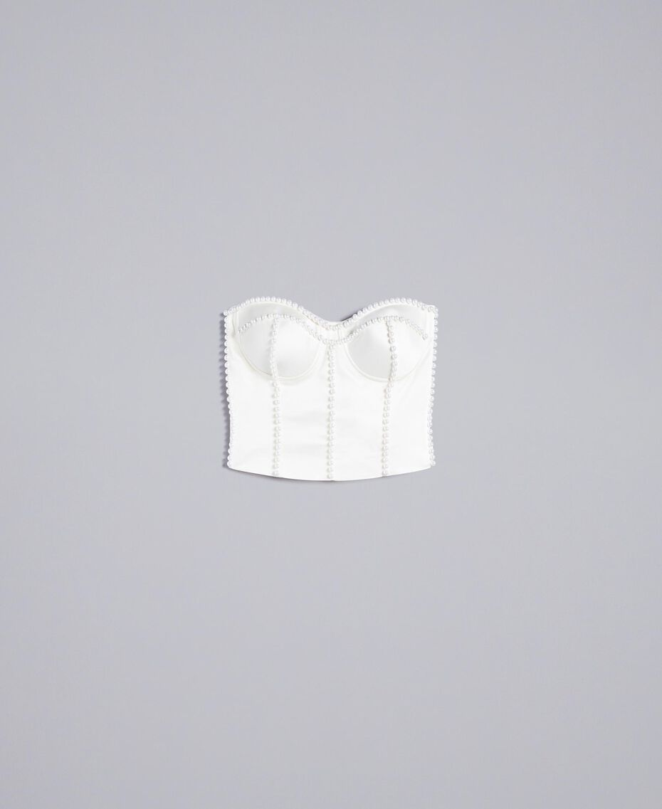 Korsage aus Envers-Satin mit Perlen Weiß Schnee Frau TA824J-0S